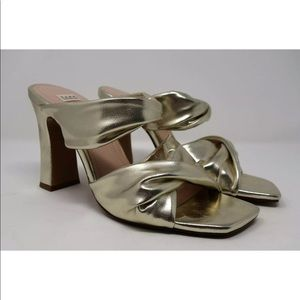 ZARA Gold Faux Leather Multi-Strap Sandals
